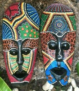 Huge Tribal Mexican Tiki Masks Hand painted handcrafted wall Hanging plaques