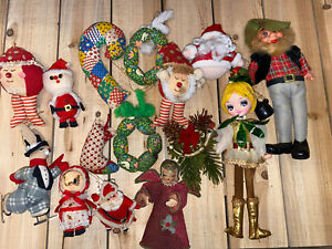 Lot-15-Vintage-KITSCH-50s-60s-Christmas-Ornaments-Flocked-Santa-Quilted-Angel