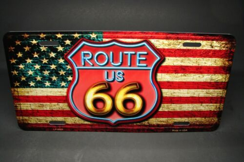 ROUTE 66 AMERICAN FLAG METAL ALUMINUM CAR LICENSE PLATE TAG VINTAGE LOOK
