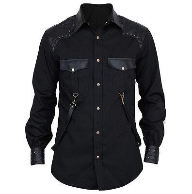 Vintage Goth Steampunk Hemd Herren schwarz black Gothic Shirt Baumwolle VG16441