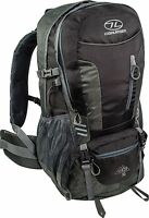 Highlander Hiking Rucksack 30l Black Daysack Walking Backpack Raincover Hip Belt