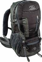 Highlander Hiking Rucksack 30l Black Daysack Walking Backpack Raincover Hip Belt