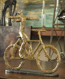 MODERN-ART-AGED-SAGE-GREEN-METAL-BIKE-FREEDOM-RIDE-STATUE-SCULPTURE-BICYCLE