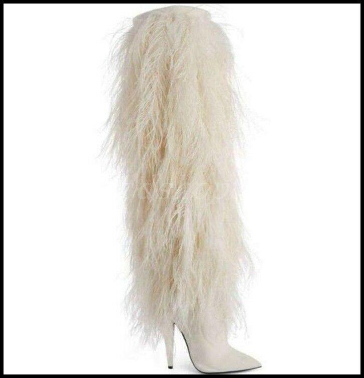 Occident Womens Leather Fur Plush Knee High Boots Boots Boots Stiletto Pointy Toe shoes 9400a5
