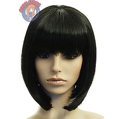 Black A-Line Bob Short Cosplay Wig - 12 inch HighTemp - CosplayDNA Wigs
