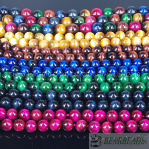 Natural Tiger's Eye Gemstone Round Beads Red Gold Green Pink Assorte Pick 15.5''