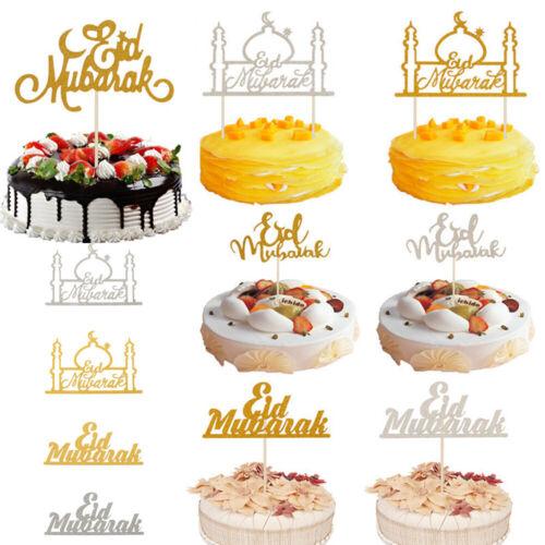 Eid Mubarak Ramadan Gold Glitter Cake Toppers Hajj Mubarak DIY Cake Toppers