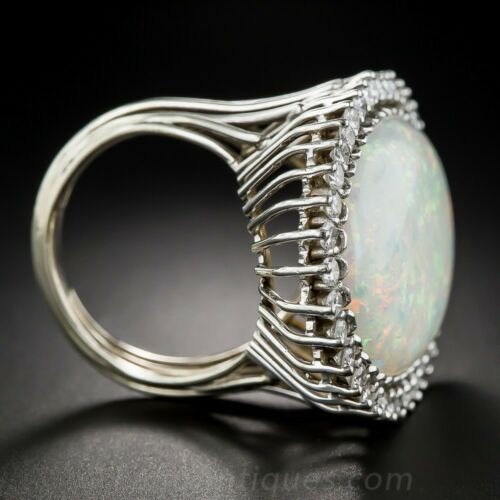 Vintage White Fire Opal Wedding Engagement Ring Silver Proposal Jewelry Sz 6-10