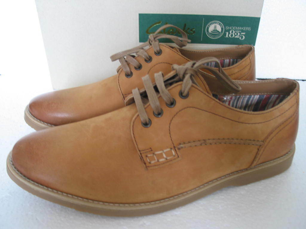 NEW Clarks Mens FUSE WALK TAN Leather Casual Shoes SIZE 6 & 7