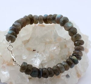 Labradorite Bracelet Gemstone Bangle 1AA Quality 925 Silver Blue Sheen 21 CM