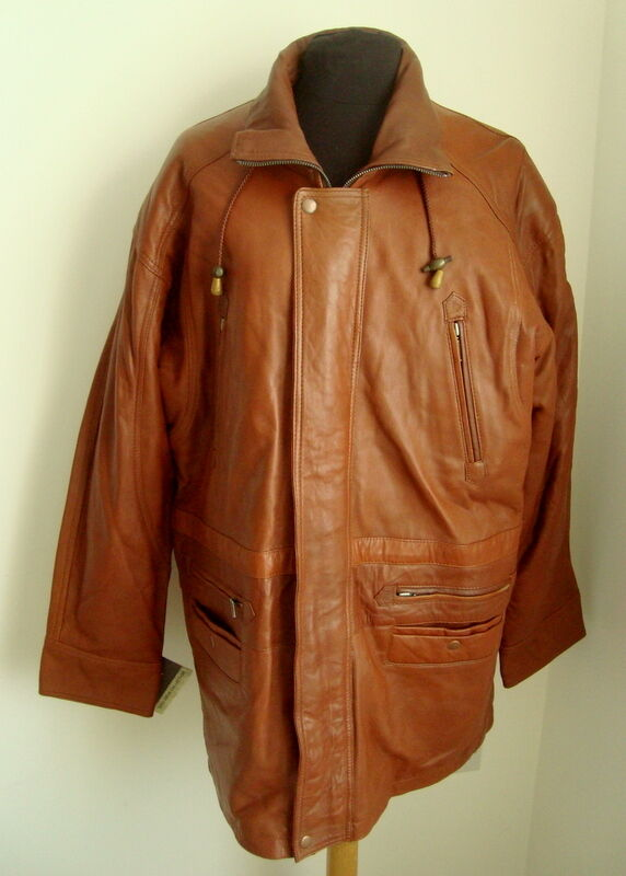 MEN'S TAN LEATHER 3 4 COAT - SIZE S -