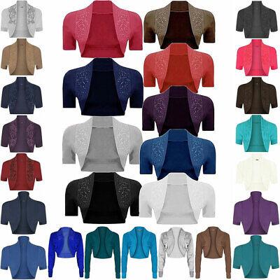 Ladies Womens Bolero Short Sleeves Sequin Cropped Cardigan Fancy Open Shrug Top