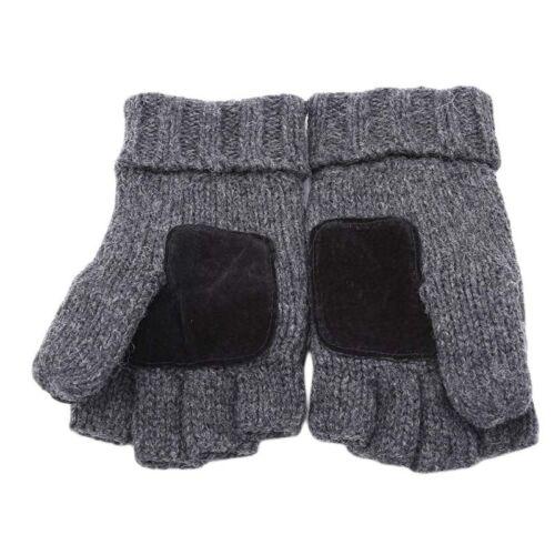 Convertible Fingerless Gloves Glove Mitt Flip Mittens Mens Womens Winter Warm JI