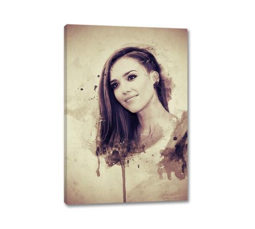 Jessica Alba Splash Art 90x60cm Leinwandbild Vintage Aquarell Wandbilder CaroArt