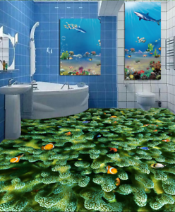 3D Green Coral Fish 5 Floor WallPaper Murals Wall Print 5D AJ WALLPAPER UK Lemon