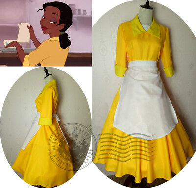 Tiana Adult Costume Waitress Yellow Dress The Princess and The Frog Cosplay Maid