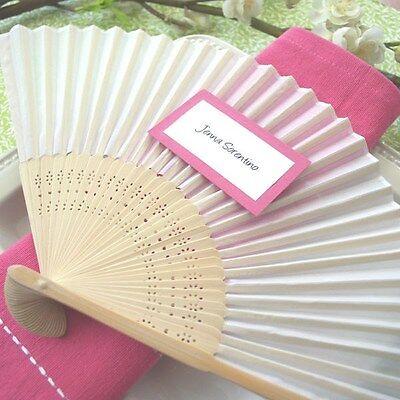 NEW White Silk Hand Fan Fans Wedding Bridal Shower Party Favor Favors Q11350