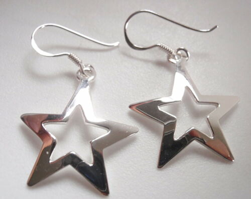 Open Center 5-Pointed Star Dangle Earrings 925 Sterling Silver