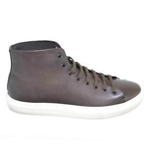 Baskets fond fabriquées en véritable pour montantes cuir foncé marron Italie hommes blanc et rqF8rtU