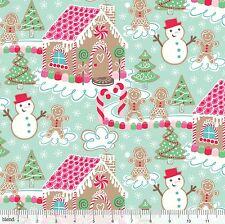 By 1/2 Yard Blend Fabric Sugar Rush ~ Gingerbread House Dream in Blue Christmas