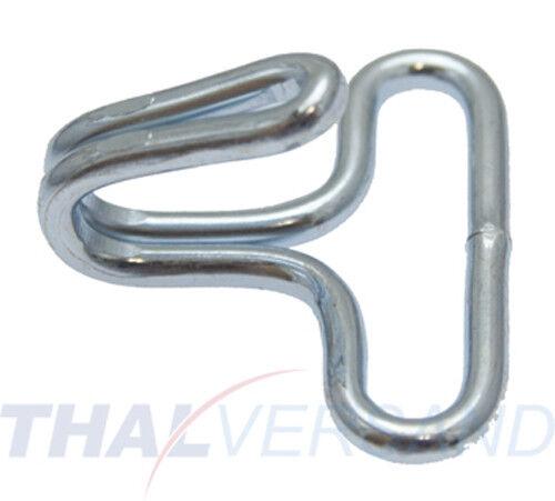 10 Stück Drahthaken 25mm x 26mm Stahl vernickelt Spanngurt Haken für Gurt