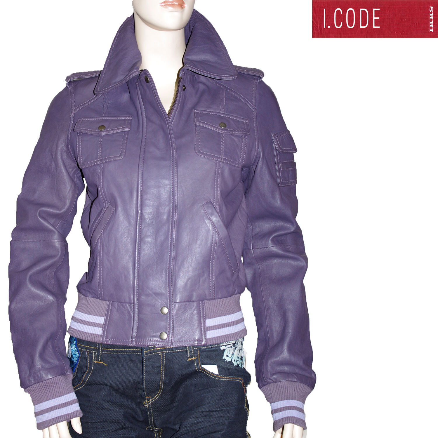 I.CODE by IKKS blouson court cuir purple parme