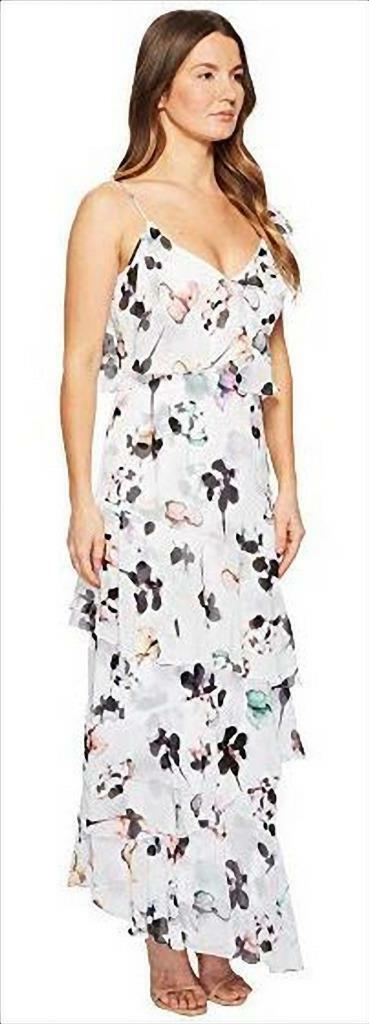 NWT ML Monique Lhuillier Asymetrical Ruffle Gardenia Floral Dress 12