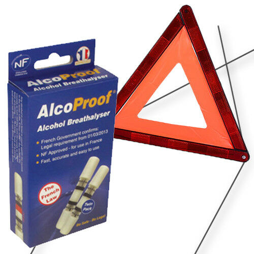 AlcoProof Alcohol Breathalyser with Warning Triangle In-Car Bundle