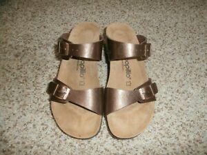 NWOB Birkenstock Papillio Tessa Cognac Brown LEATHER Wedge Sandals Size 39