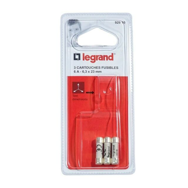 3 fusibles Legrand 92910 - 6,3 X 23 mm - 6A