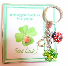 Good Luck Keyring Gift with 4 Leaf Clover Lucky Horseshoe and Ladybird in bag
