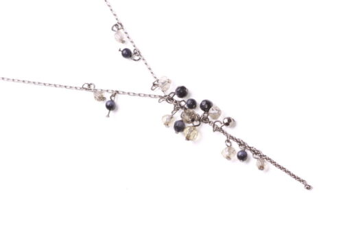 ZX44 DELICATE DARK METAL ADJUSTABLE NECKLACE WITH CUTE CLUSTER OF GREY BEADS