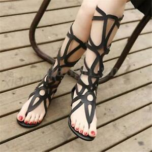 New-Womens-Summer-Roma-Gladiator-Sandals-Boho-Knee-High-Boots-Hollow-Out-Shoes