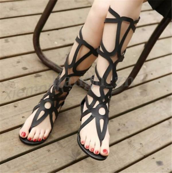 New Womens Summer Roma Gladiator Sandals Boho Knee High Boots Hollow Out Shoes