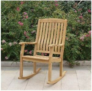 newest 35458 fbc53 Details about Large Solid Teak Rocking Chair Outdoor Porch Garden Patio  Wood Rocker Furniture