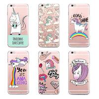 Cute UNICORN Transparent Slim silicone Case Cover For iPhone SE 5 6 7 PLUS