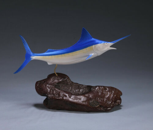 MARLIN Sculpture New direct by JOHN PERRY 11in long Airbrushed Decor Trophy