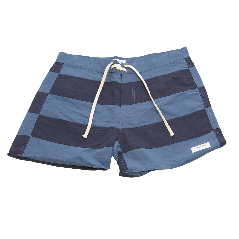 994738fedf NYC Men's Navy Offset Stripe Board Shorts NWT Azure SATURDAYS ...