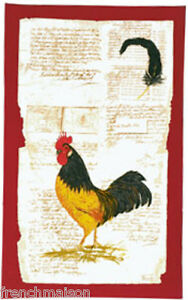 BEAUVILLE-French-Country-Dish-Kitchen-Towel-Red-ROOSTER-Feather-Pen-FREE-GIFT