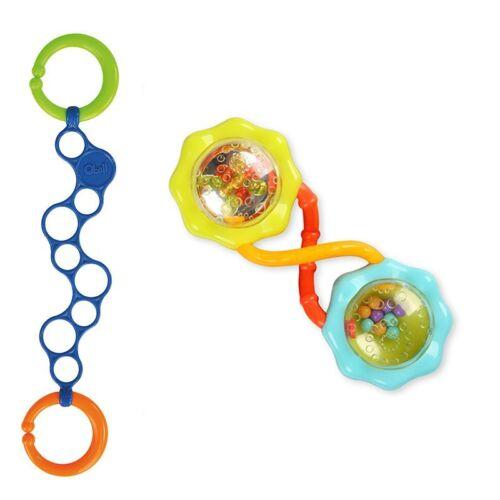 Oball Set - Bright Starts - Rattle & Shake Barbell mit O-Link blau für Jungs