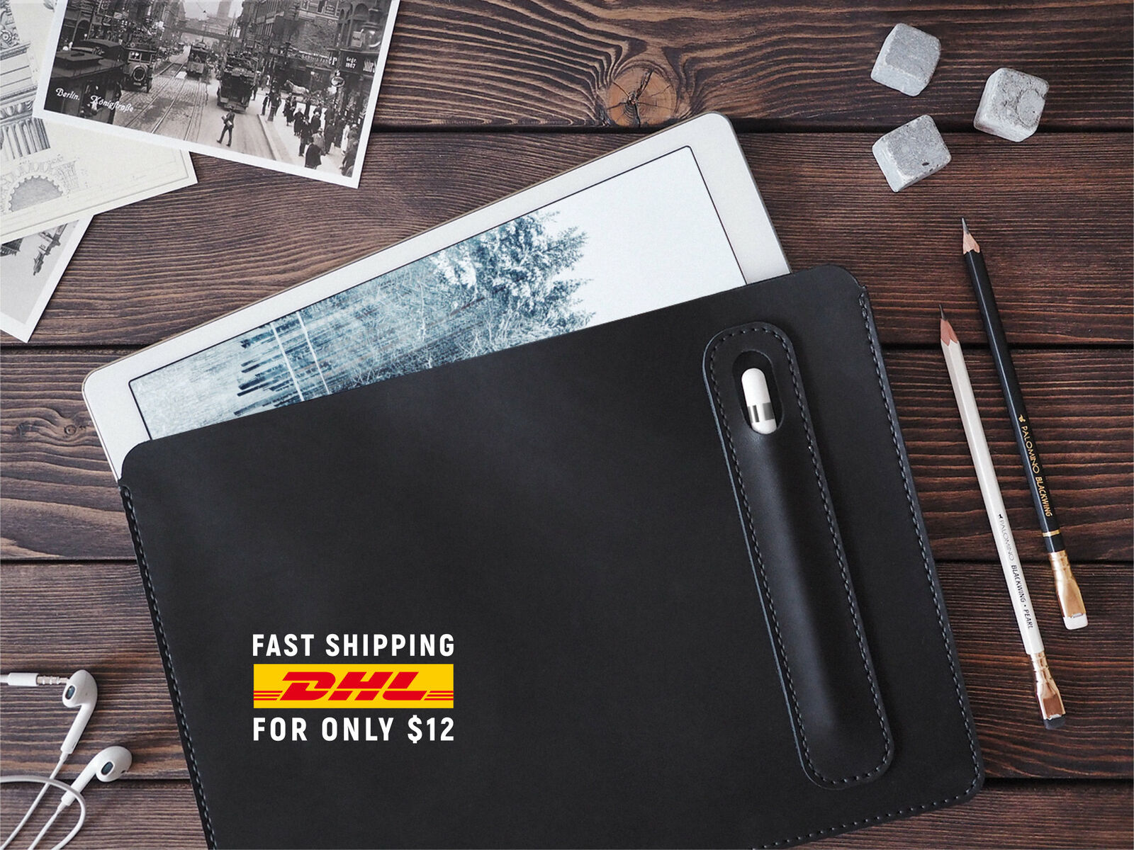 iPad Pro 12.9 inch leather cover. Personalized iPad Pro and Apple Pen holder....