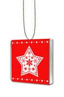 10 Personalised NORDIC STAR Milk Chocolate Hanging Christmas Tree Decorations