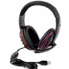 USB 2.0 Leather Wired Gaming Headset Headphone with Microphone for PS3 PC F