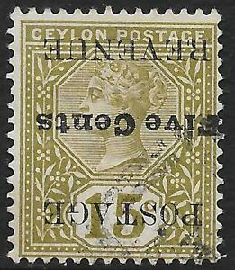 Ceylon stamps 1890 SG 233a INVERTED Ovpt CANC VF