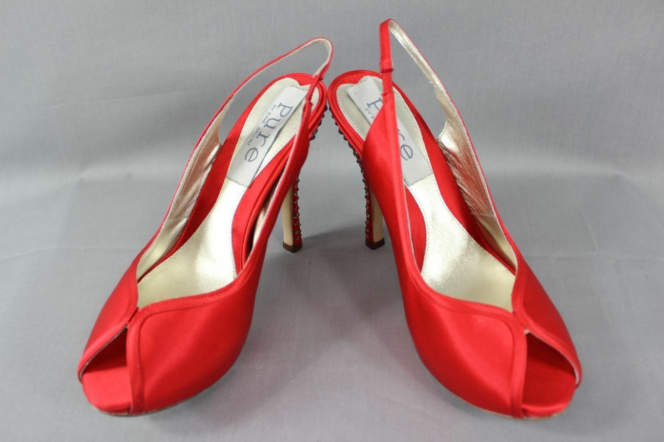 BNIB PURE BY DIANE HEELED HASSALL RED SILK DIAMONTE HEELED DIANE LEATHER SHOES: SIZES 2 - 6.5 9308d9