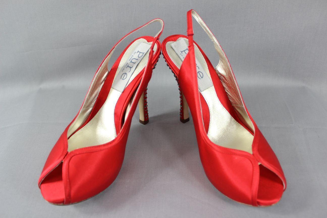 BNIB Pure By hassall Diane hassall By Seda Roja Diamonte Tacón Zapatos De Cuero: Tamaños 2 - 6.5 ab0cd9