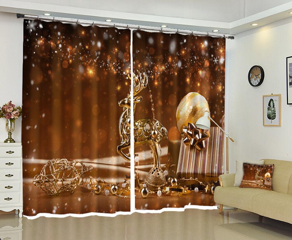 3d navidad XMIN 100 bloqueo foto cortina cortina de impresión ventana de tela de