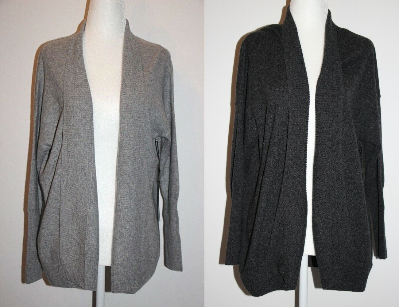 Tahari Pure Luxe 100% Cashmere Ribbed Shawl Shawl Shawl Open Front Grey Cardigan S SuperSoft 92fbed