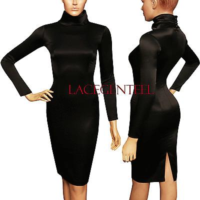 Posh working Women Fit Sexy Black Satin Long Sleeve Knee Turtleneck Pencil Dress