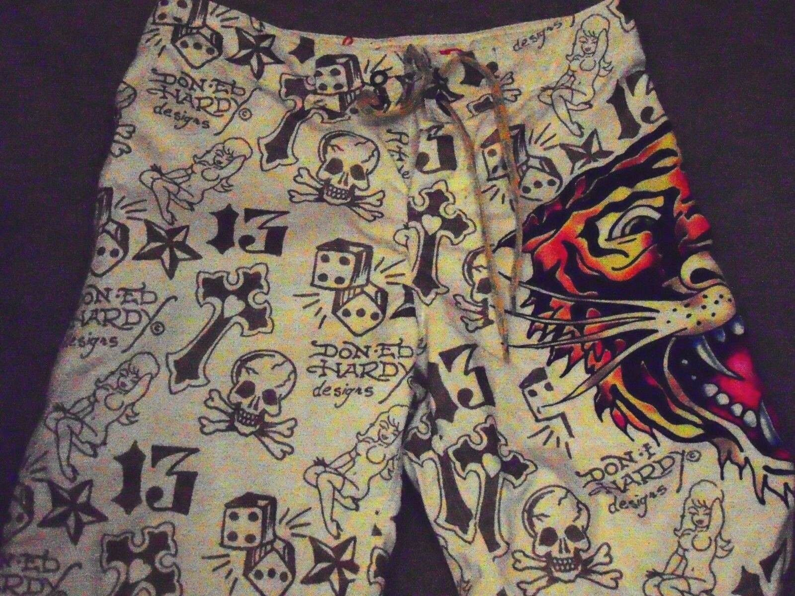 Ed Hardy Men's Board Shorts Surf Or Die Skull sexy women Size 32